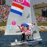 Lisa Westerhof and Lobke Berkhout at the Olympic Games 2012 in Weymouth, United Kingdom.Fotograaf: Richard Langdon, Ocean Images. FotoÕs worden u aangeboden door het Watersportverbond en zijn rechtenvrij voor redactioneel gebruik. Naamsvermelding van fotograaf is verplicht.